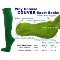 Green Couver Knee High Unisex Sports Athletic Baseball Softball Socks(3 Pairs)