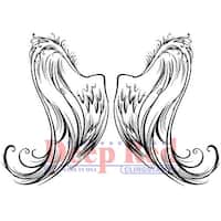 """Deep Red Cling Stamp 3""""X5""""-Angel Wings"""
