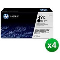 HP 49X High Yield Black Original LaserJet Toner Cartridges (Q5949X)(4-Pack)