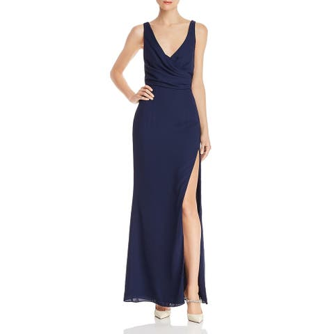 Fame And Partners Womens Evening Dress Strappy Sleeveless - Navy