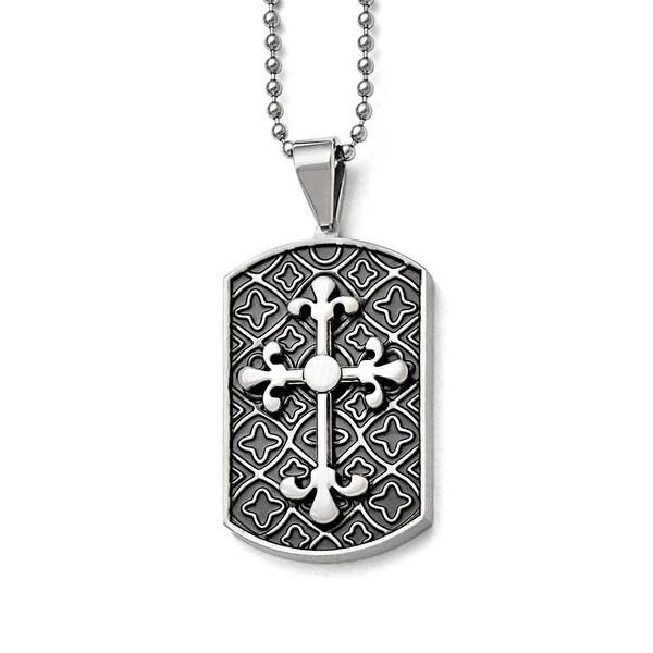 Chisel Stainless Steel Black Enamel & Cross Dogtag Pendant - 22 in