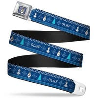 Olaf Face Snowflakes Stitch Full Color Blues White Olaf Snowflakes Trees Seatbelt Belt