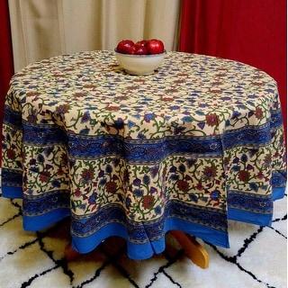 "Handmade 100% Cotton Floral Vine Block Print  72"" Round Tablecloth - Beige"