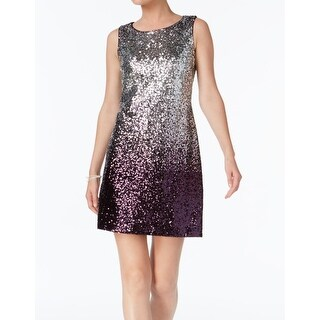 Vince Camuto Silver Womens Size 8 Ombre Seequined Sheath Dress