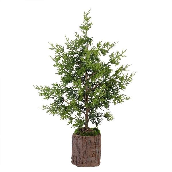 "20.75"" Artificial Green Cedar Topiary Christmas Table Top Decoration"