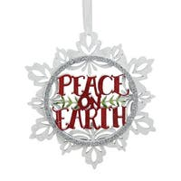 """5.5"""" White and Silver """"Peace on Earth"""" Glittered Cut-Out Wooden Christmas Ornament"""