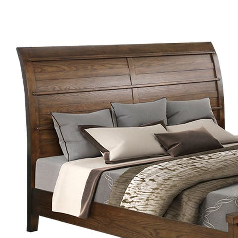 Wooden Curved Headboard with Natural Grain Texture, Brown
