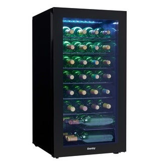 Danby DWC032A2 18 Inch Wide 36 Bottle Capacity Free Standing Wine Cooler with LE