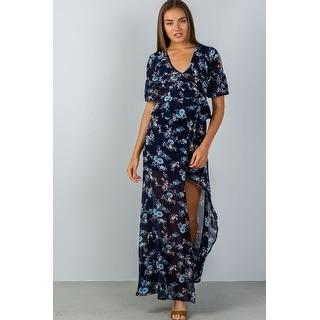 Ladies Fashion Navy & Floral Print Wrap Maxi Skirt - Size - S