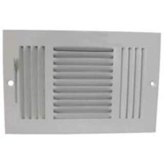 """Mintcraft SW03-10X6 3 Way Sidewall Registers, 10"""" x 6"""", White"""
