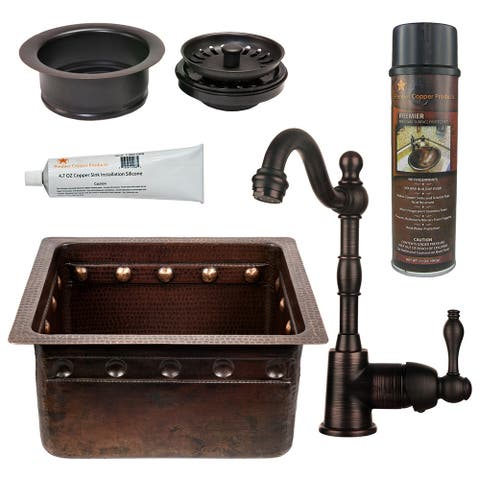 Premier Copper Products BSP4_BREC16DBBS-G Bar Sink, Faucet and Garbage Disposal Drain Package