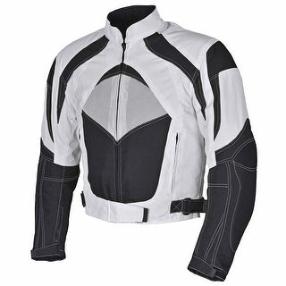 Men Motorcycle Textile Jacket WaterProof with CE Protection White Black