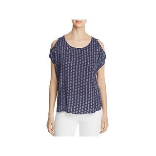 Side Stitch Womens Pullover Top Woven Printed
