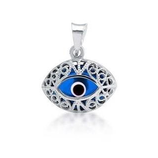 Blue Glass Evil Eye Filigree Sterling Silver Pendant