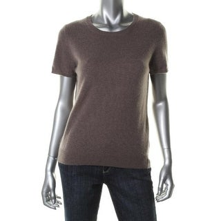 Private Label Womens Cashmere Short Sleeves Pullover Sweater - S