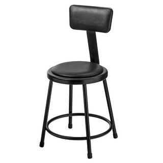 National Public Seating Black Padded Stool with Backrest, 18 in.