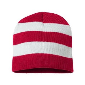"""Sportsman Rugby Striped 8"""" Knit Beanie - Red/ White - One Size"""