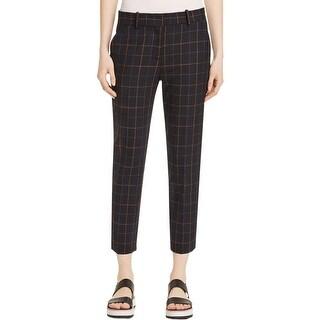 Theory Womens Treeca Dress Pants Wool Blend Checkered