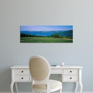 Easy Art Prints Panoramic Image 'View of a vineyard near a lake, Keuka Lake, Finger Lakes, New York, USA' Canvas Art