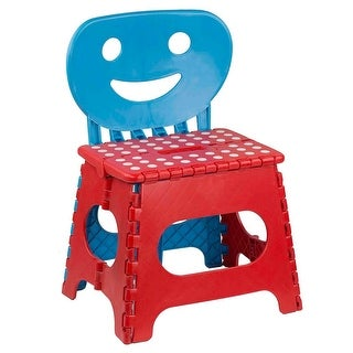 Home Basics Folding Step Stool Chair with Smiley Face Back, Red and Blue, 13x10.5x19 Inches