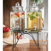 Palais Glassware Clear Glass Duplex Beverage Dispenser - 1/2 Gallon Each Jug, with Glass Lids and Metal Stand.