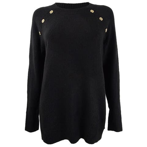 Calvin Klein Women's Button-Detail Crewneck Sweater