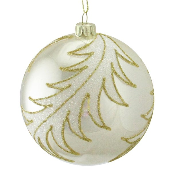 "4.5"" Glittery White and Gold Leaves Glass Ball Shiny Silver Christmas Ornament"