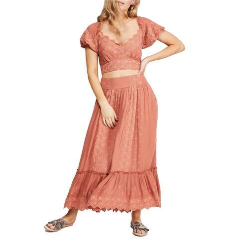 Free People Womens Ella A-line Maxi Skirt, Orange, X-Small