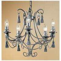 """Classic Lighting 4035 Rope and Tassel 5-Light 20"""" Wide Single Tier Taper Candle Style Chandelier - Pewter"""