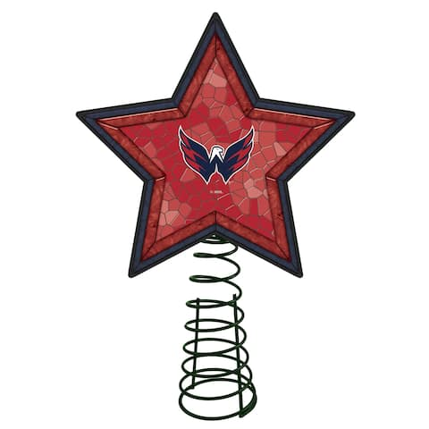 """10"""" Lighted Red and Blue Mosaic Style Star NHL Washington Capitals Christmas Tree Topper - N/A"""