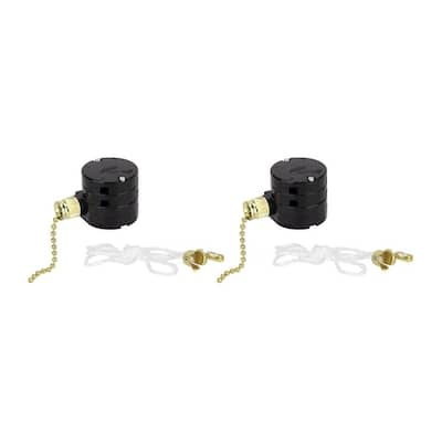 Aspen Creative 3 Speed Ceiling Fan Motor Switch with Pull Chain, Polished Brass, 2 Pack - POLISHED BRASS