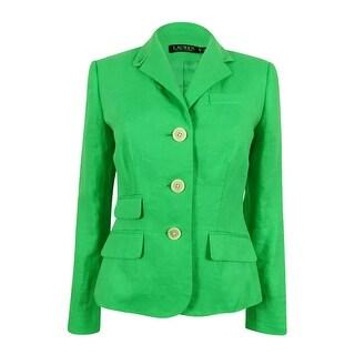 Lauren Ralph Lauren Women's 100% Linen Blazer (2, Hampton Green) - hampton green - 2