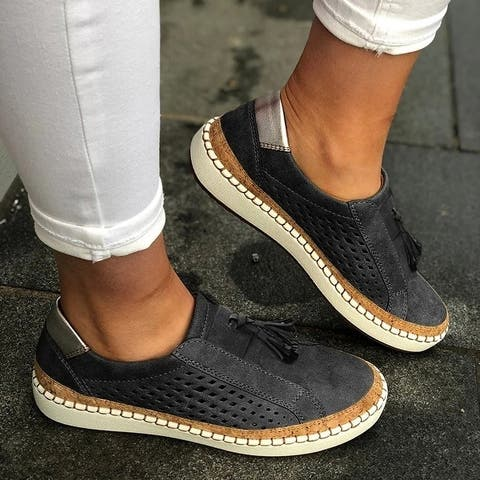 Fringe Tassels Slide Hollow-Out Casual Women's Sneakers In 4 Colors
