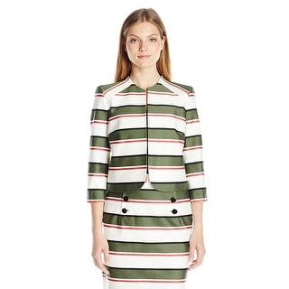 Nine West Striped Cotton Open Front Collarless Jacket Blazer - 16