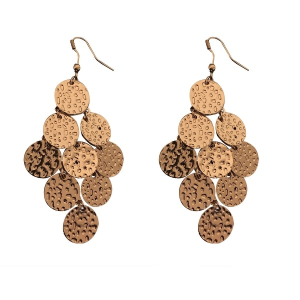 max & MO Gold Hammered Mini Disc Chandelier Earring