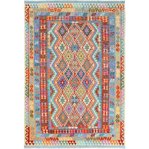 """Shahbanu Rugs Colorful Afghan Kilim With Tribal Design Reversible Glimmery Wool Hand Woven Ethnic Oriental Rug (6'7"""" x 9'6"""")"""