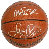 Magic Johnson signed Spalding IO TB NBA Basketball w Larry Bird silver sigs Magic over Bird Bird Ho