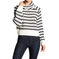 John + Jenn NEW Ivory Women's Size Medium M Striped Cowl Neck Sweater