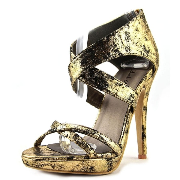 Michael Antonio Tamzah Women Open Toe Canvas Gold Platform Heel
