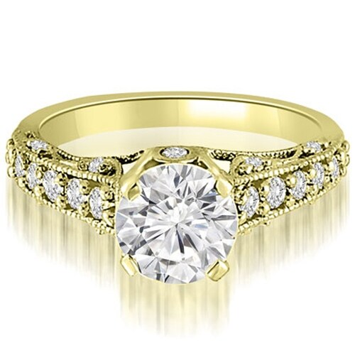 1.50 cttw. 14K Yellow Gold Antique Milgrain Round Cut Diamond Engagement Ring