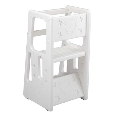 White kids Kitchen/Bathroom Step Stool with Safety Rail