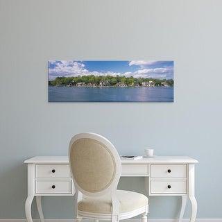 Easy Art Prints Panoramic Image 'Boathouses near the river, Schuylkill River, Philadelphia, Pennsylvania' Canvas Art