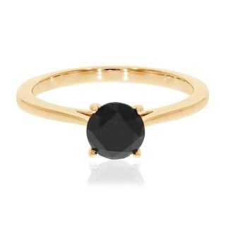 Prism Jewel 6.50MM 1.25 TDW Prong Set Round Black Diamond Solitaire Engagement Ring