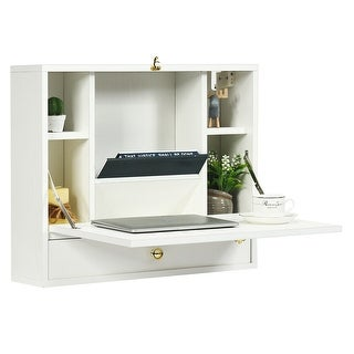 Link to Gymax White Wall Mounted Folding Laptop Desk Hideaway Organizer Similar Items in Computer Desks