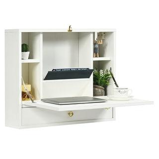 Gymax Wall Mounted Folding Laptop Desk Hideaway Organizer Storage