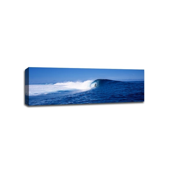 Surfer in Tahiti - Beach Photography - 48x16 Gallery Wrapped Canvas Wall Art