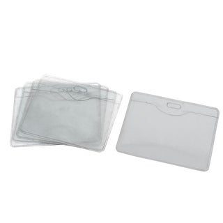 Unique Bargains 5 Pcs School Office Plastic Name Tag Bussiness ID Card Horizontal Badge Holders