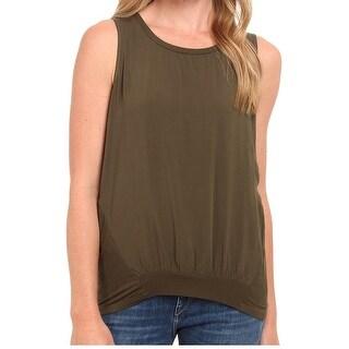 Splendid NEW Olive Green Women's Size Large L Mixed-Media Blouse