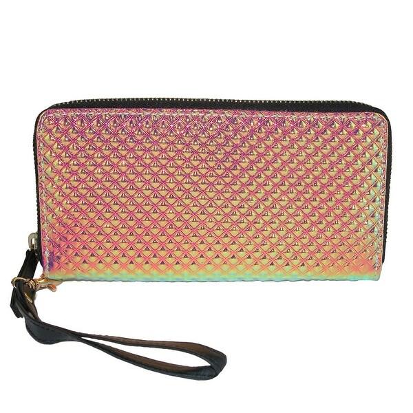 OMG Accessories Women's Embossed Iridescent Zip-Around Wallet - One size
