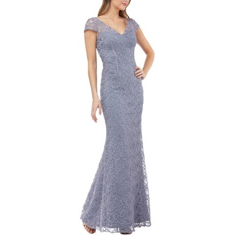 JS Collections Womens Evening Dress Illusion Trumpet